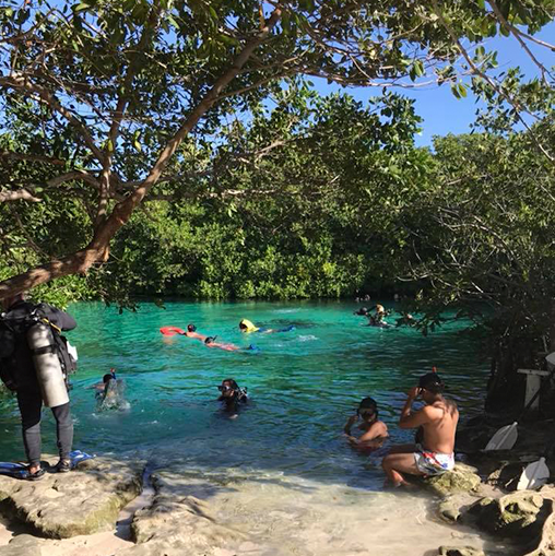 Photo of group of people swimming and diving in a lake